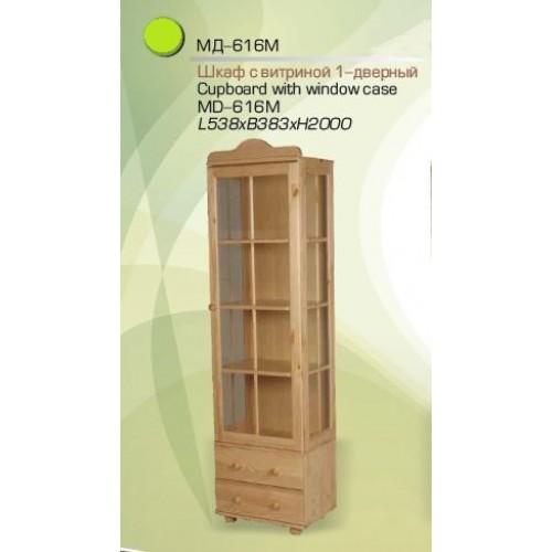 Шкаф с витриной МД-616 из массива сосны